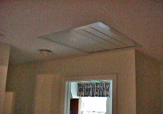 Install a whole house exhaust fan yourself louvers installed over attic fan ceiling hole aloadofball Choice Image