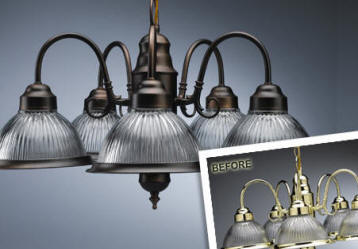 Apply faux oil rubbed bronze finish to chandelier or for Painting metal light fixture bathroom