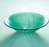 Green Glass Vessel Sink Display