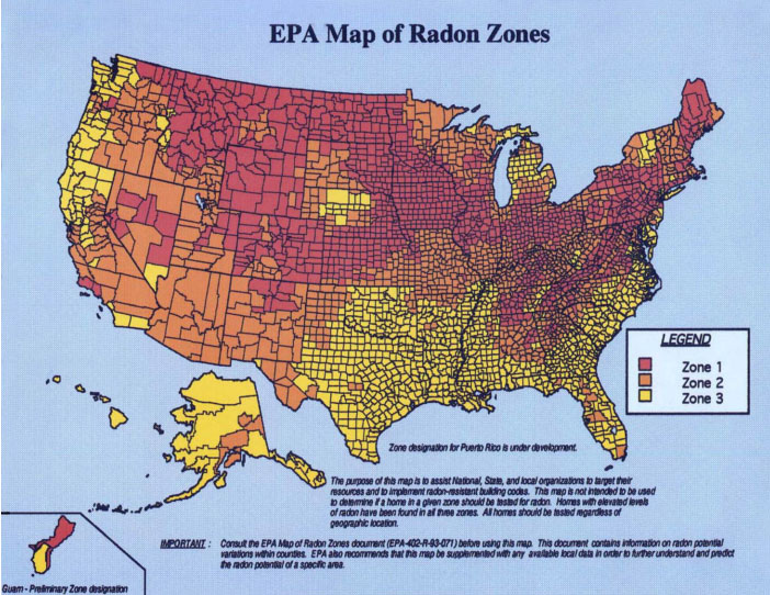 Map Of Radon Zones In The USA - Radon us map