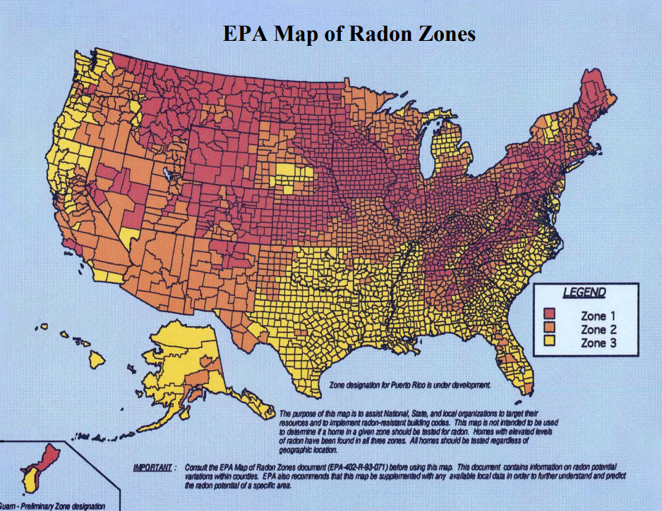 Radon Map Of Us Map of Radon Zones in the USA